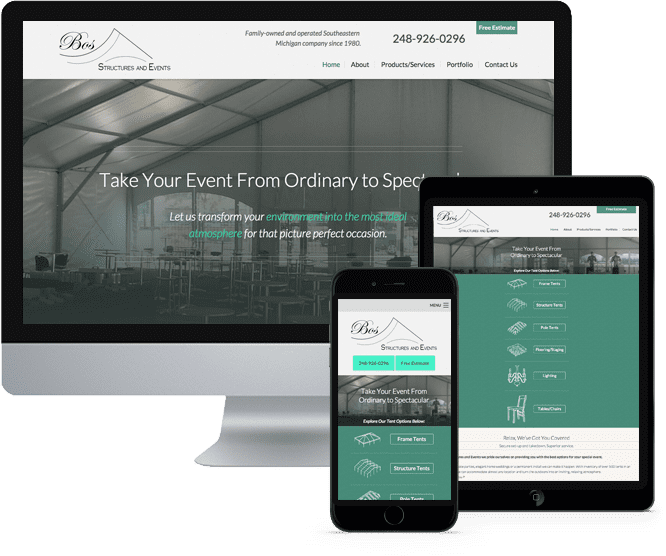 Bos Tent Rental's website on Desktop, Tablet, and Mobile