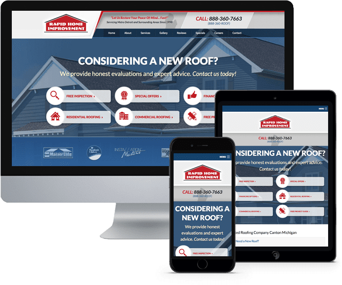 Rapid Roofing's website on Desktop, Tablet, and Mobile