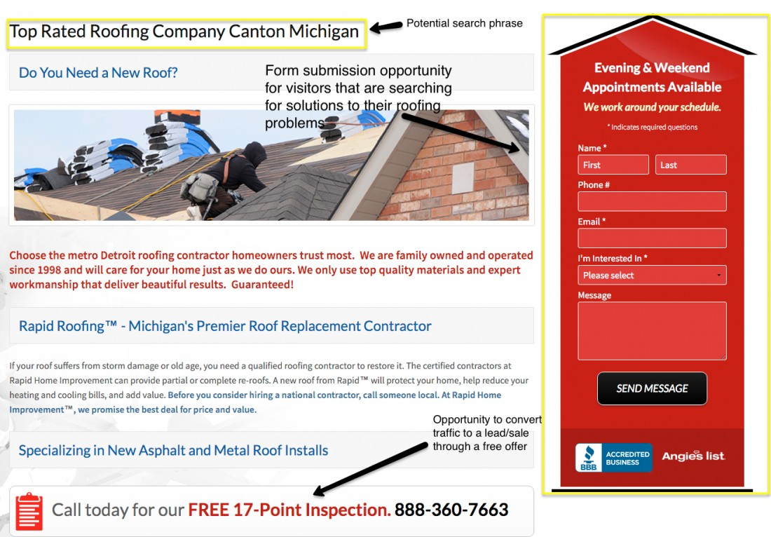 Roofing website conversion example