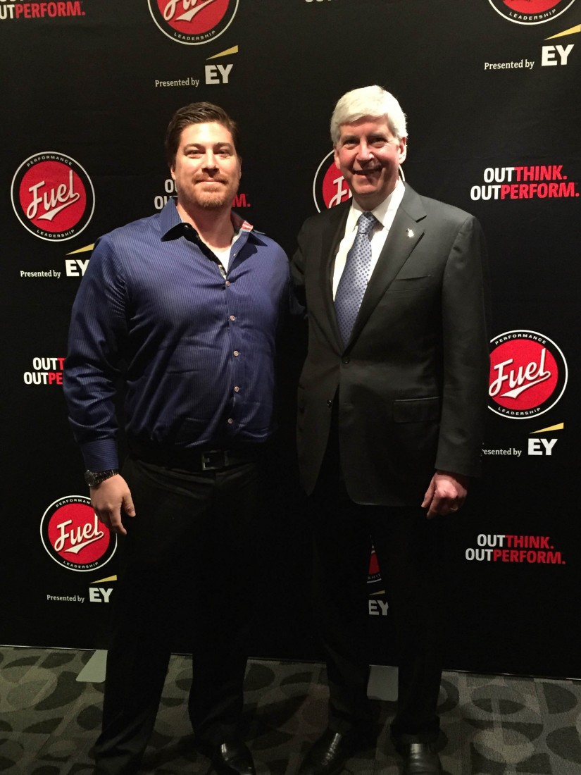 Wes Mathews and Governor Rick Snyder