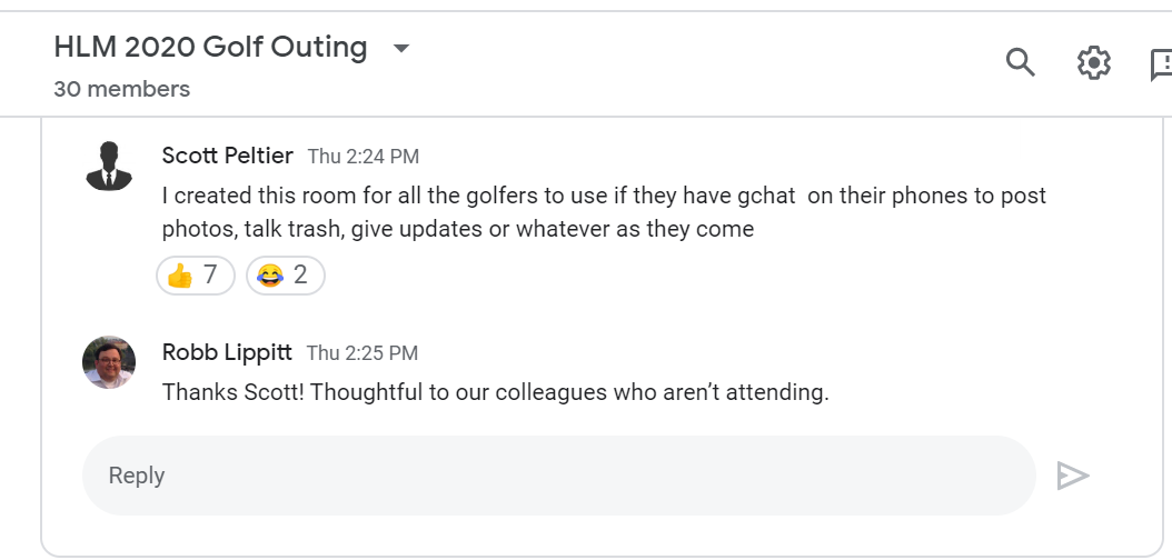 Scott invites his co-workers to a golf outing chatroom.
