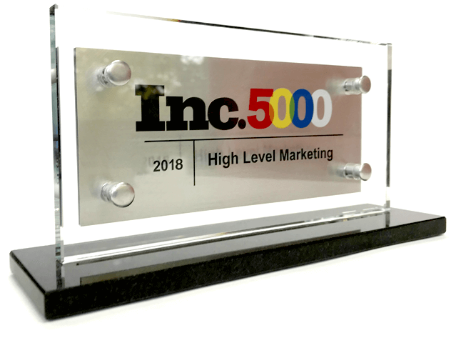 About High Level Marketing: Award-winning Digital Marketing Since 2009 - inc-5000-plaque